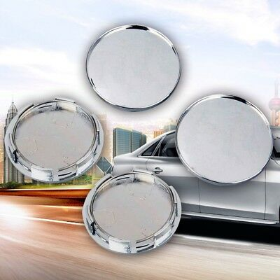 4Pcs Universal 68mm Chrome Silver Car Wheel Hub Center Caps Covers Set No Logo