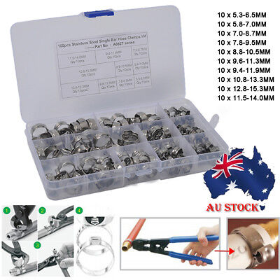 100 Pieces O Clips Single Ear Hose Pipe Clamps Stainless Steel 5.3mm-15.3mm AU