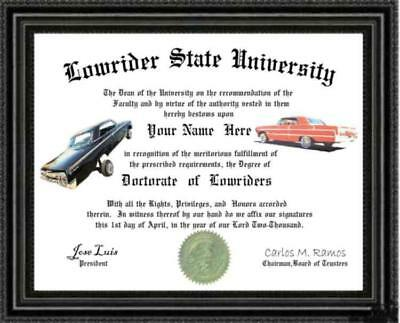 Lowrider Lover's Doctorate Diploma / Degree Custom made & Designed for You ORALE