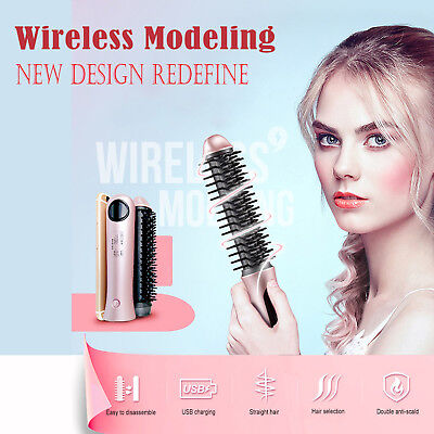 Hair Curler NEW Wireless Electric Roller Curling Straight Comb Rechargeable USB