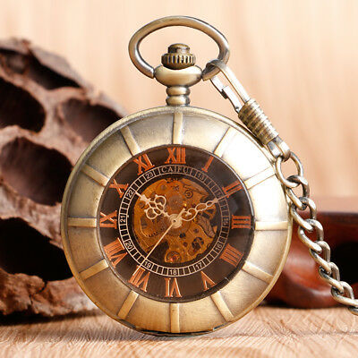 Bronze Double Hunter Roman Numerals Dark Brown Glass Mechanical Pocket Watch