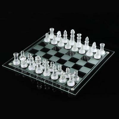 Board Game Frosted Transparent Chessboard Traditional 32 Pieces Glass Chess Set: