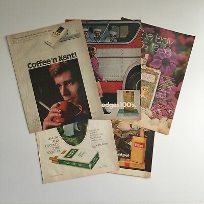 5x 1971 Cigrette Advertisements Ephemera Winston Kool Eve Kent Benson & Hedges