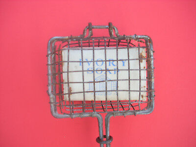 Antique wire mesh soap holder strainer with original unused bar of Ivory Soap