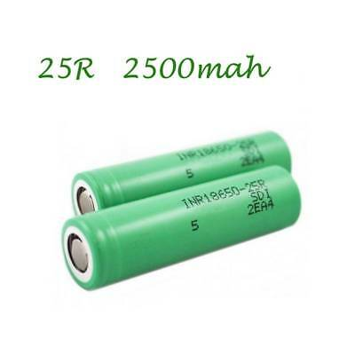 2x Samsung INR18650-25R/2500mAh Li-ion Rechargeable Battery Replacement Battery