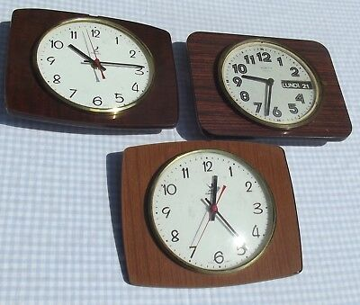 Lot Retro Vintage Jaz Vedette Mid Century wall clocks day date Formica