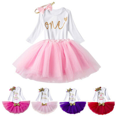 Baby Girls 1st First Birthday Dress Outfits Romper Skirt Set One Year Clothes
