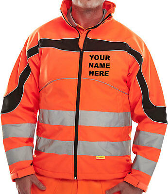 Eton UNISEX SoftShell Orange Hi Vis /Viz Jacket CUSTOM PRINTED PERSONALISE FREE