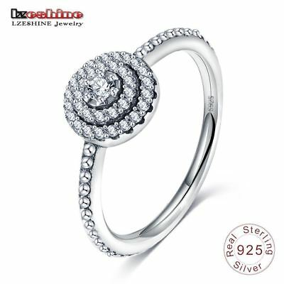 LZESHINE 100% Authentic Antique 925 Sterling Silver Rings With AAA Zirconia Ring