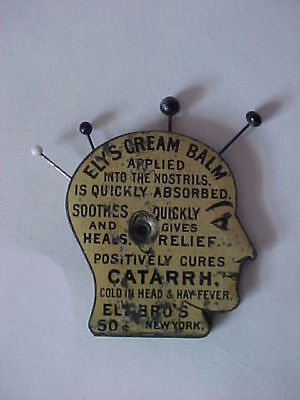 Figural Pin Head Advertising Ely's Cream Balm Cures Catarrh Colds