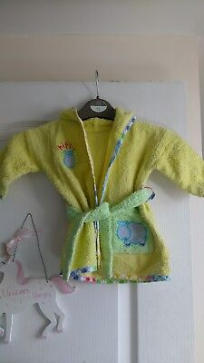 0-6 months Mothercare yellow towelling dressing gown with hippo design