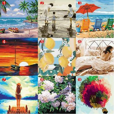 DIY Painting Frameless Pictures By Numbers Acrylic Oil Canvas Wall Art 40*50cm