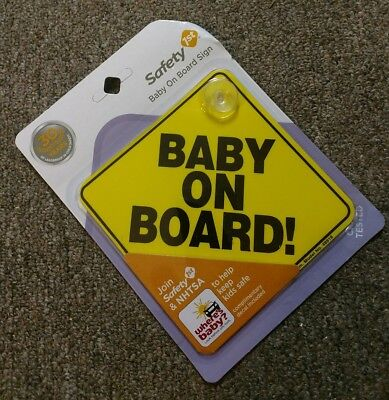 Baby On Board Car Yellow Window Sign with Suction Cup Safety 1st New