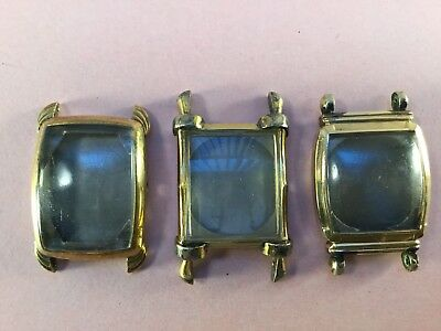 Vintage Lot of 3 10k Gold Filled Art Deco Men's Watch Cases Bulova Sutton [MB09]