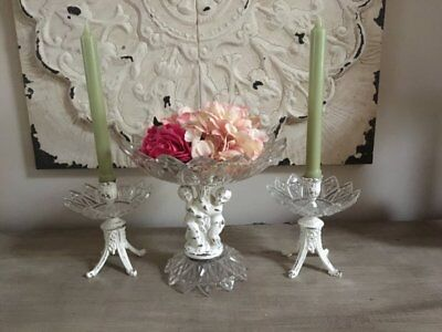 3 Pc. Vintage Chic~Painted ~Candlestick Holders~Cherub Compote~Chippy