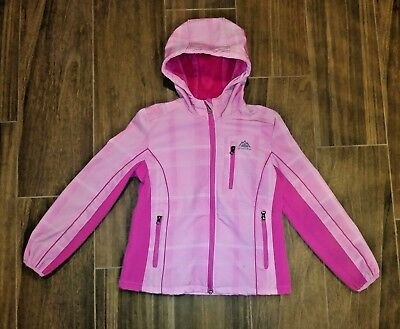 Girls' Snozu Jacket Size 10/12 Medium Pink Light Plaid Faux Fur Lined Quality
