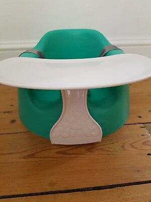 Bumbo baby seat excellent condition with tray and straps, green