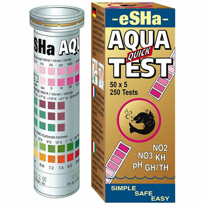 eSHa Aqua QUICK TEST 50 Strips for FISH TANK C12 NO2 NO3 PH KH GH/TH Aquarium