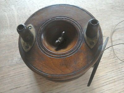 Allcocks Antique c late 19th century wood & brass fly fishing reel