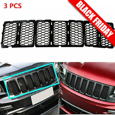 Black Mesh Grille Insert Kit Front Grill Cover For Jeep Grand Cherokee 2014-2016