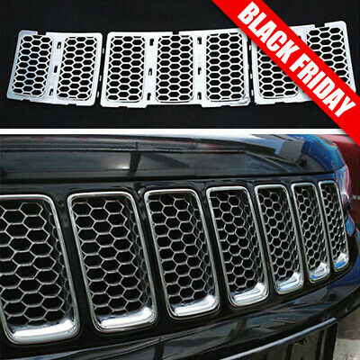3x Chrome Honeycomb Front Mesh Grill Insert For 2014 Up Jeep Grand Cherokee Part