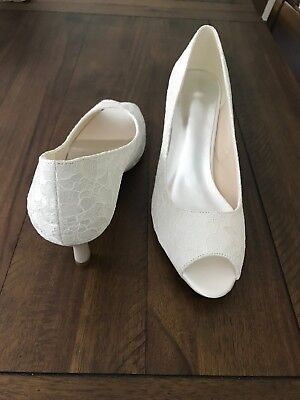 bridal prom wedding shoes size 9 American size 40 european ivory open toe pumps