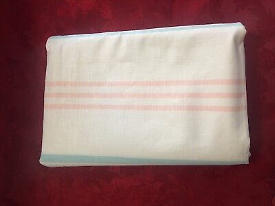 European Pure linen sheet vintage new white with pink and turquoise stripe