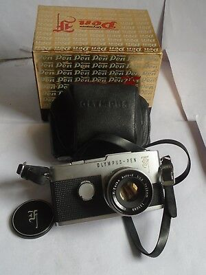 1960's Boxed Olympus Pen F Half Frame 35mm SLR Camera 38mm Lens