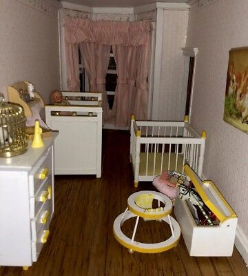 Soft Yellow -dollhouse miniatures wood furniture lot COMPLETE BABY NURSERY
