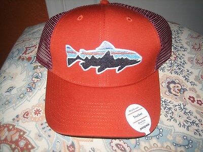 NEW Patagonia Fitz Roy Trout Trucker Snapback Meshback Roots Red Cap Hat  38008 c46a6c7d8fb4