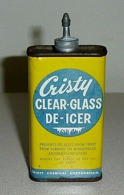 RARE Old CRISTY Lead Top 4 Oz Clear Glass De-Icer Can - Handy Oiler Type Oil Tin