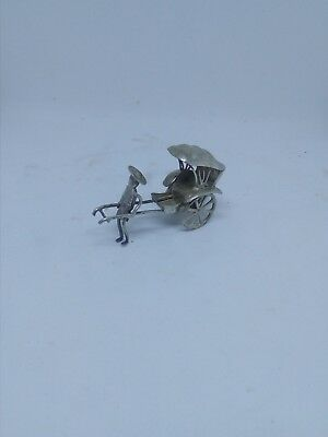 Vintage Japanese Chinese Silver Metal Engraved Rickshaw Figure Moving Wheels