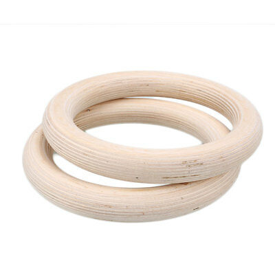 1 Pair Wooden Exercise Rhythmic Gymnastic Rings Cross With Long Buckles Straps