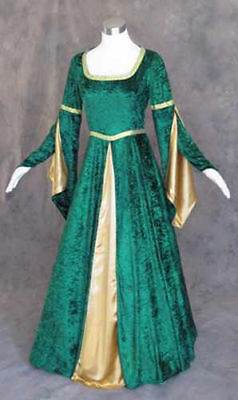 Size XL - Green Velvet Medieval Renaissance Cosplay Wench LARP Dress Costume