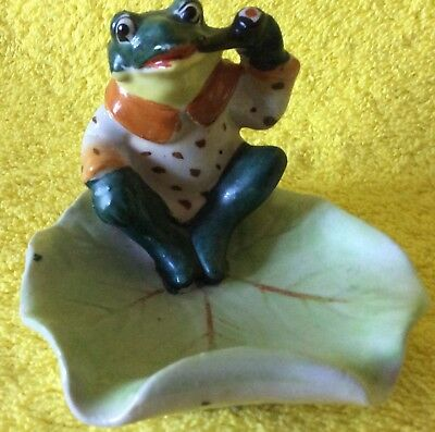 Occupied Japan Frog on Lily Pad Ashtray or Knick Knack