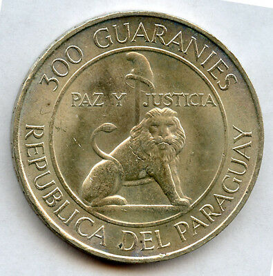 Paraguay 1968 Issue 300 Silver Guaranies Lion, Silver Crown,choice Unc.