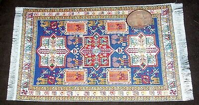Oriental Carpet Rug 4 X 6.5 1:12 Miniature Yellow Blue Brown Black Ivory #7725