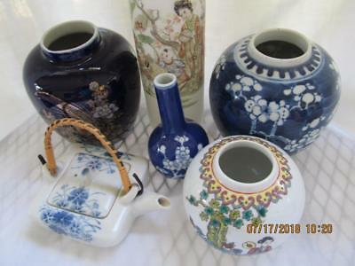20th Century Miniature Chinese Japanese Teapot Vase Ginger Jar Collection Signed