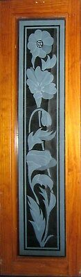 Original Etched Rambling Floral Glass Window Mahogany Frame