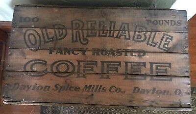 Old Reliable Coffee Wooden Crate Box Antique 100# Country store Size