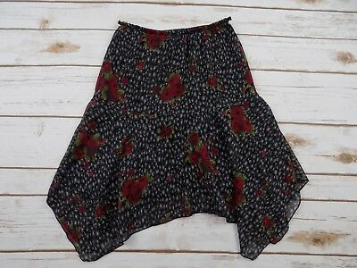 Candie's Girls Size S Rose Pattern Black Red High Low Hem Skirt