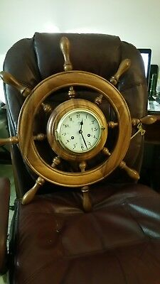 Schatz mariner clock!! 100% Authentic!!!!! Mounted on ship's wheel