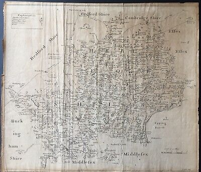 Hertfordshire, J Clark engraver. Early engraved map probably late 18th century.