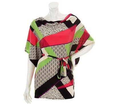 M by Marc Bouwer Women's Cowl Neck Printed Tunic with Tie Belt Medium Size QVC