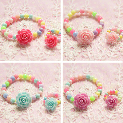 Lovely Kids Beads Resin Camellia Girls Bracelet Cute Fashion Jewelry Baby Set