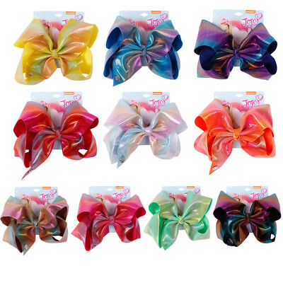 "6"" Rainbow Printed Hair bow Knotted Bow With Alligator Clip Headwear For Girls"