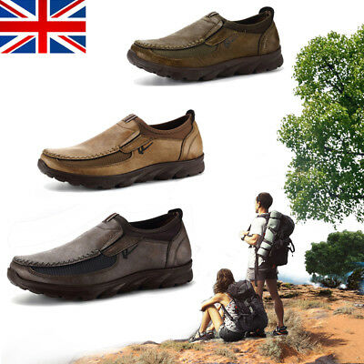 UK Men's Loafers Shoes Casual Leather Breathable Antiskid Moccasins Flat Fashion