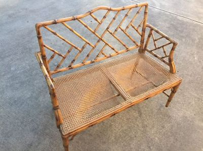 Rare Faux Bamboo Settee Chinese Chippendale Chairs Bench Armchairs