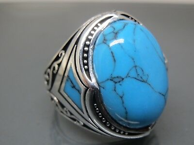 Turkish Handmade Jewelry 925 Sterling Silver Turquoise Stone Men's Ring Sz 9