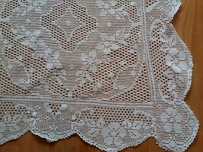 "ANTIQUE Art Deco Handmade Crochet Filet Lace White Tablecloth 45x42"" Rectangular"